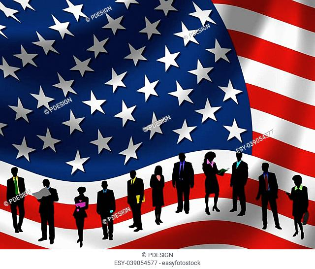 USA Flag with business people