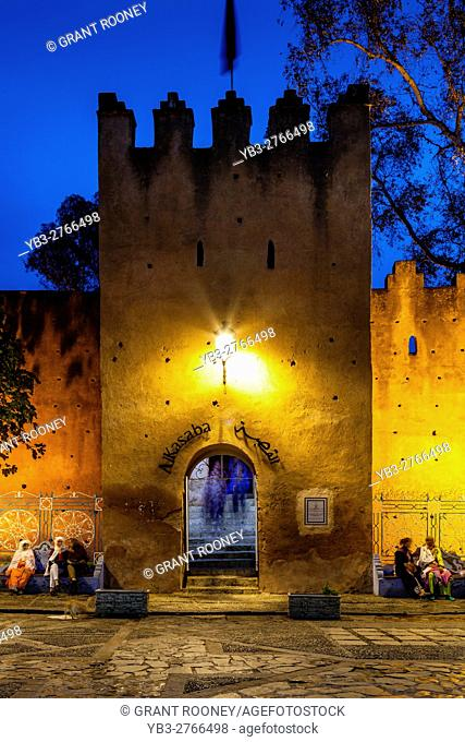The Entrance To The Kasbah and Plaza Uta el-Hammam At Night, Chefchaouen, Morocco