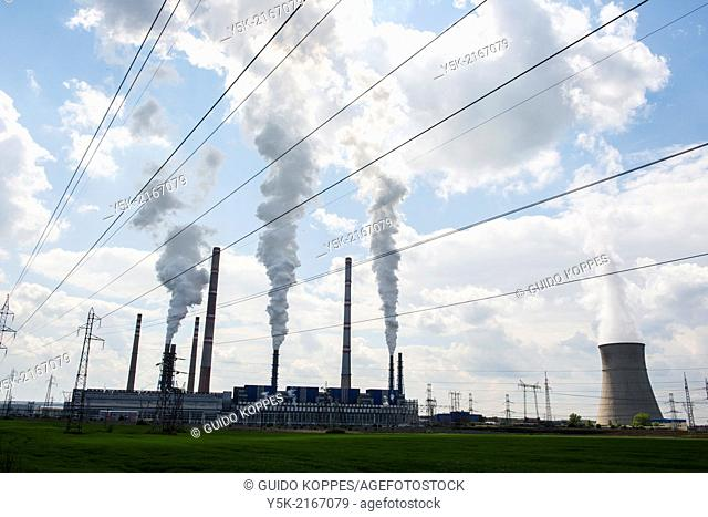 Radnevo, Stara Zagora Region, Bulgaria. Thermal Power Plant, called: 'Stara Zagora 2', nearby a huge open brown coal mine, feeding the TPP with fuel