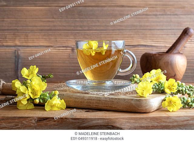 A cup of mullein tea with fresh Verbascum densiflorum flowers