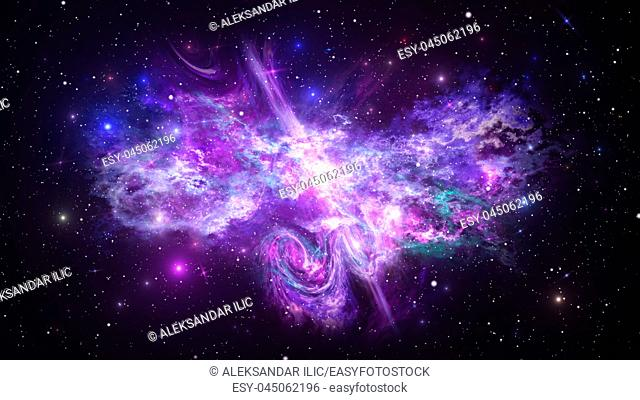 Universe with Galaxy, Stars and Colorful Nebula on Dark Starry Background