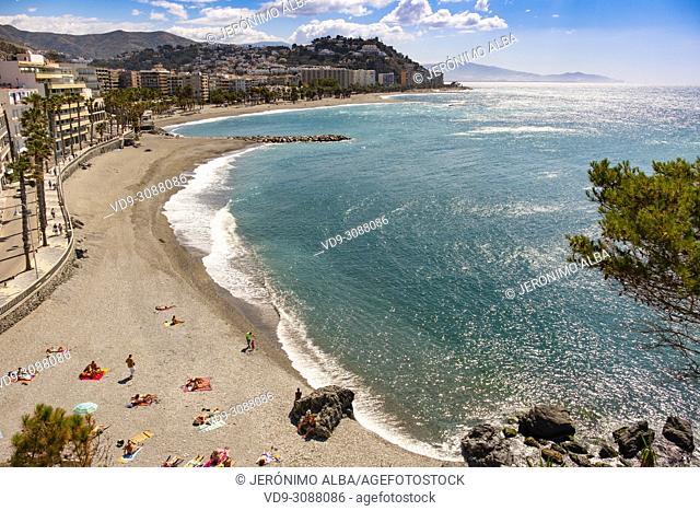 Puerta del Mar beach, Almuñecar. Costa Tropical, Mediterranean Sea. Granada Province. Andalusia, Southern Spain Europe