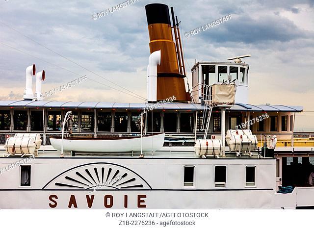 Swiss lake steamer Savoie docked in Geneva taking on new travelers
