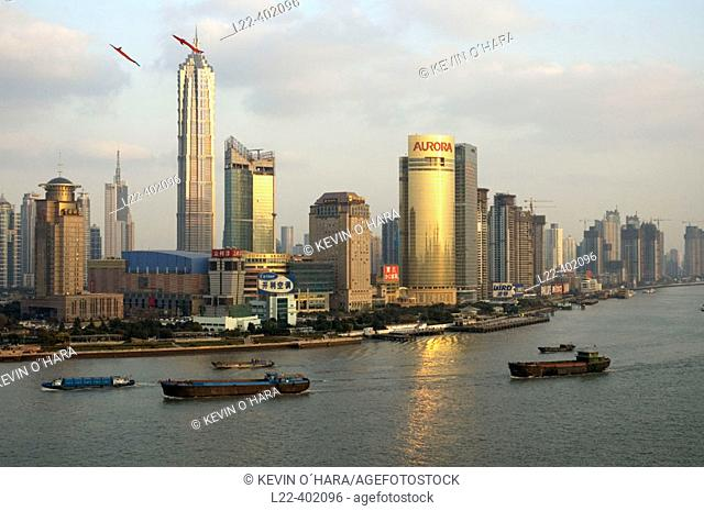 Overview on Wu Song river. Shanghai city. China. Asia