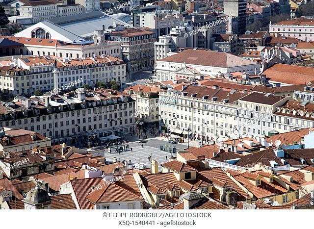 View of Figueira square and Baixa from Saint George Castle, Lisbon