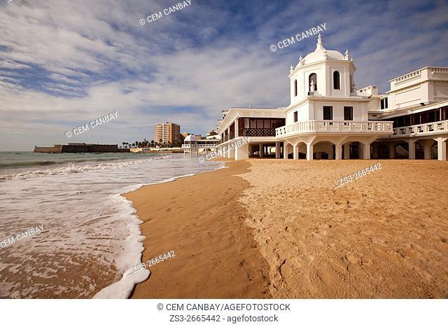 Caleta beach and the Bath of la Palma y del Real Cádiz, Andalusia, Spain, Europe