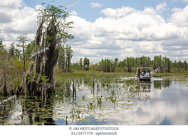 Folkston, Georgia - A tour boat operated by Okefenokee Adventures takes visitors through the Suwannee Canal area in the Okefenokee National Wildlife Refuge