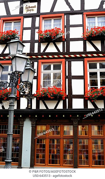 Facade of a timbreframe german house, Ahrweiler, Rheinland-Pfalz, Germany