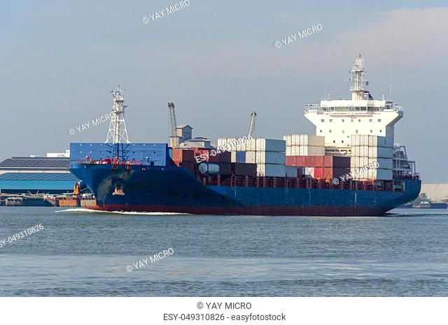 Container Cargo ship in the ocean. Freight Transportation