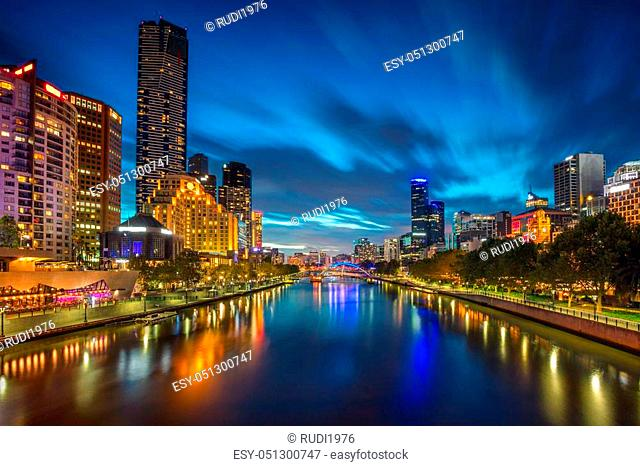 Cityscape image of Melbourne, Australia during twilight blue hour