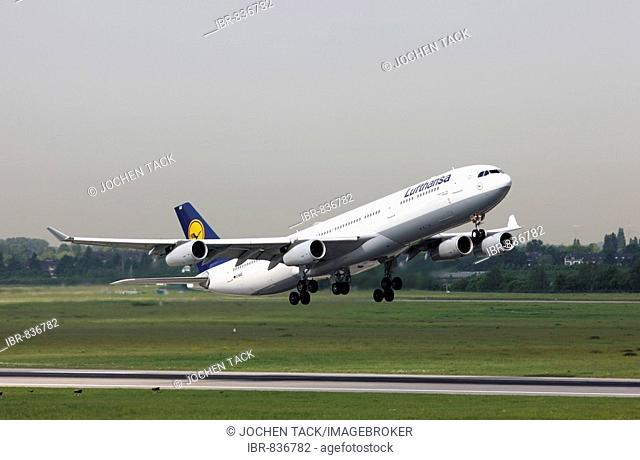 Lufthansa Airbus A340, one of three large-capacity aircraft stationed in Duesseldorf since May 2008 for connections to Canada and the USA