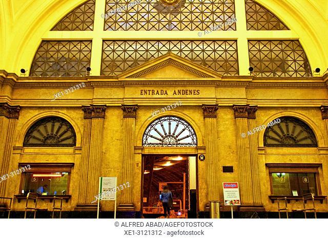 access door to the platforms, hall of the Estació de França, Barcelona, Catalonia, Spain