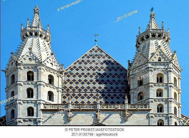 St. Stephen's Cathedral in a detailed view at the Stephansplatz in Vienna - Austria