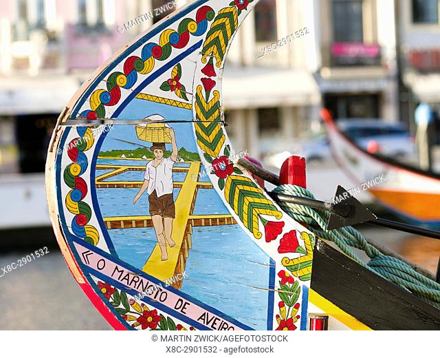 Traditional painted Moliceiro Boats. Aveiro in Portugal on the coast of the Atlantic. Because of the many channels Aveiro is called the venice of Portugal