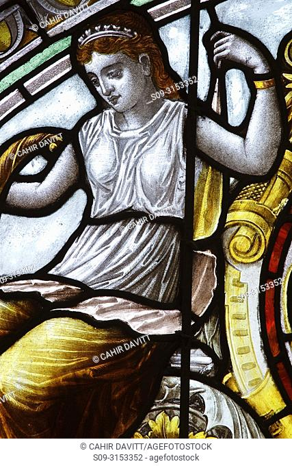 Ireland, Dublin, Kildare Street, The National Library of Ireland, stained glass detail in the grand staircase