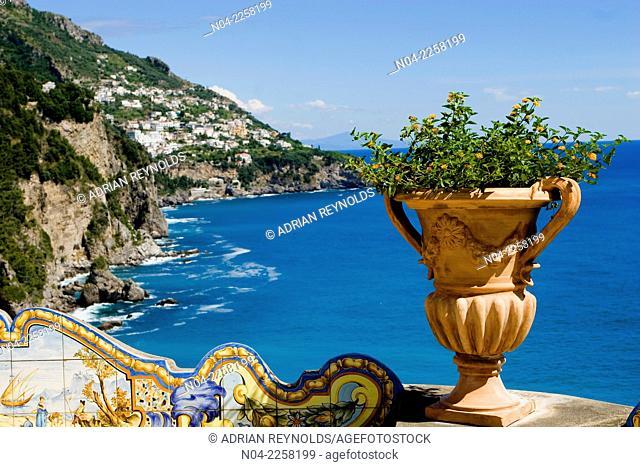 Vase on the Hotel San Pietro patio, Amalfi Coast