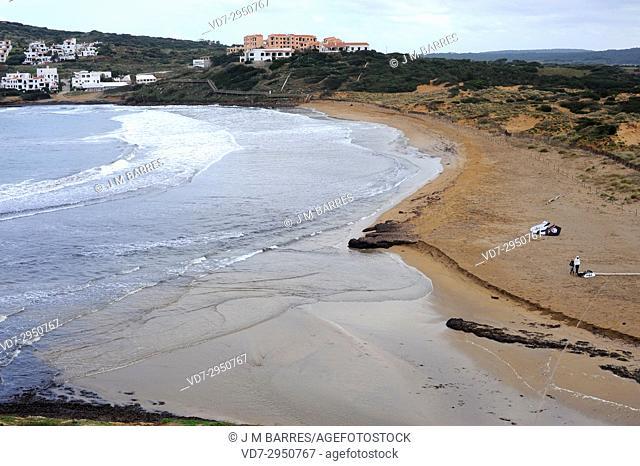Cala Tirant or Arenal de Tirant. Es Mercadal, Minorca Biosphere Reserve, Balearic Islands, Spain