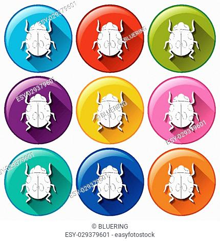Illustration of the round icons with bugs on a white background