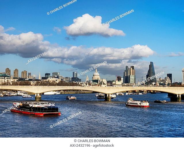 St Paul's Cathedral, bridge and skyline; London, England