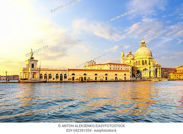 Church of Santa Maria Della Salute in Venice at sunset