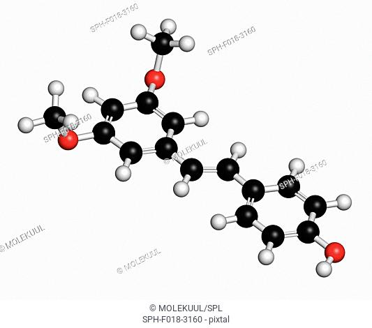 Pterostilbene 3D rendering. This is a defensive chemical found in a number of plants including almonds and blueberries. Atoms are represented as spheres with...