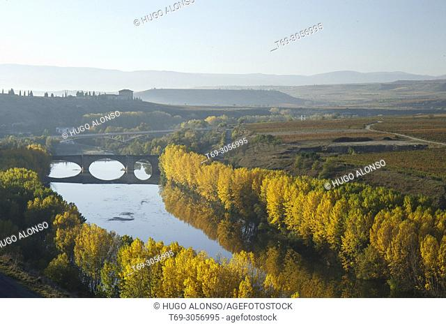 Medieval bridge over the Ebro river. San Vicente de la Sonsierra. La Rioja. Spain