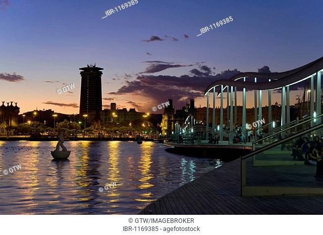 Rambla de Mar at night, Barcelona, Catalonia, Spain, Europe