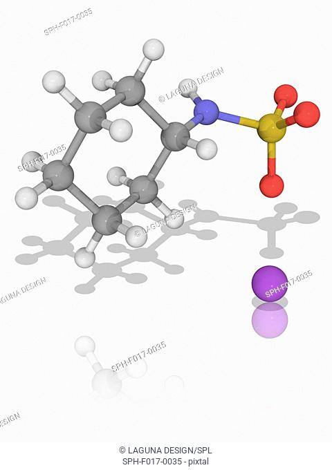 Sodium cyclamate. Molecular model of the artificial sweetener sodium cyclamate (C6.H12.N.Na.O3.S). It is up to 50 times sweeter than ordinary sugar (sucrose)
