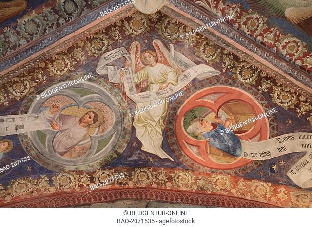 the roman frescoes at the church St. Jakob in Kastelaz near Tramin, Termeno sulla strada del vino, Trentino, Italy
