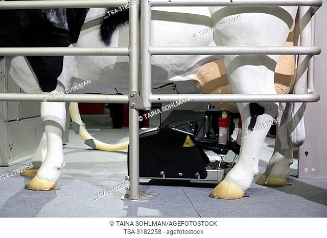 Helsinki, Finland - November 15, 2018: Lely Astronaut A5 Milking Robot presented on MaatalousKonemessut Agricultural Trade Fair, Helsinki, Finland