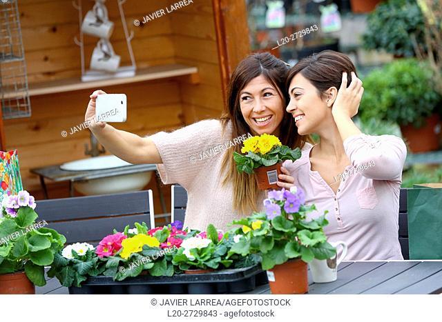 women in the garden center