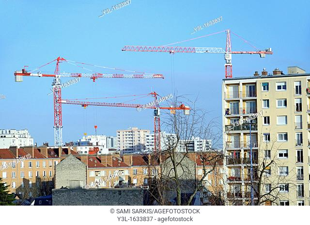Buildings and cranes in Parisian suburbs, Montrouge, France