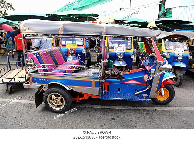 Traditional Tuk Tuk taxi transport in Bangkok, Thailand