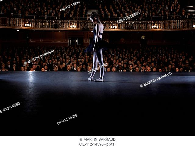 Ballet dancer performing on stage in theater