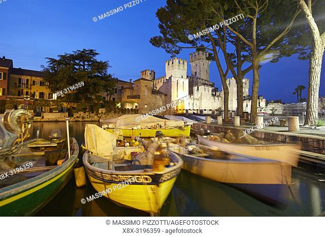 The port and the scaliger castle of Sirmione, Brescia province, Italy