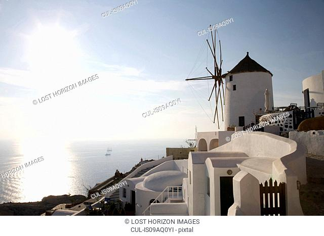 View of windmill on hillside, Oia, Santorini, Cyclades, Greece