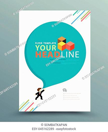 Colourful annual report brochure flyer design template. vector illustration, Use for Leaflet cover presentation abstract flat background, layout in A4 size
