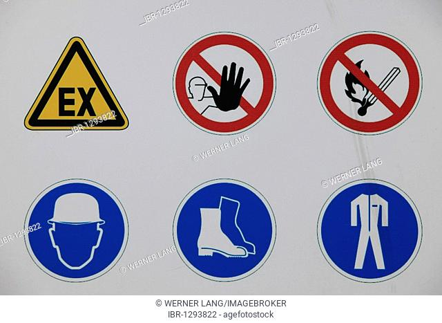 Sign for prohibitions and requirements in a heavy industry plant