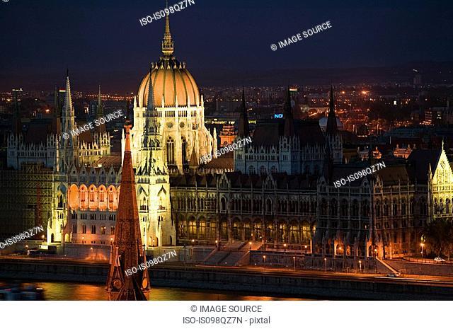 Hungarian parliament building and river danube