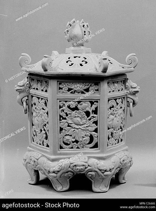 Period: Edo period (1615-1868); Date: 18th century; Culture: Japan; Medium: White porcelain with mouded designs (Hirado ware); Dimensions: H. incl