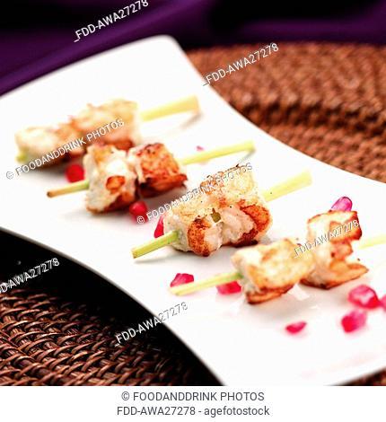 Lobser kebabs on lemon grass skewers with Pomegranate