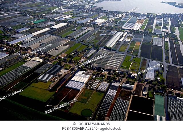 Holland, aerial view of greenhouses