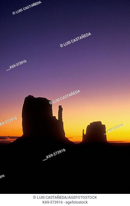 Sunrise  behind a Mesa. Monument Valley. Arizona-Utah. USA