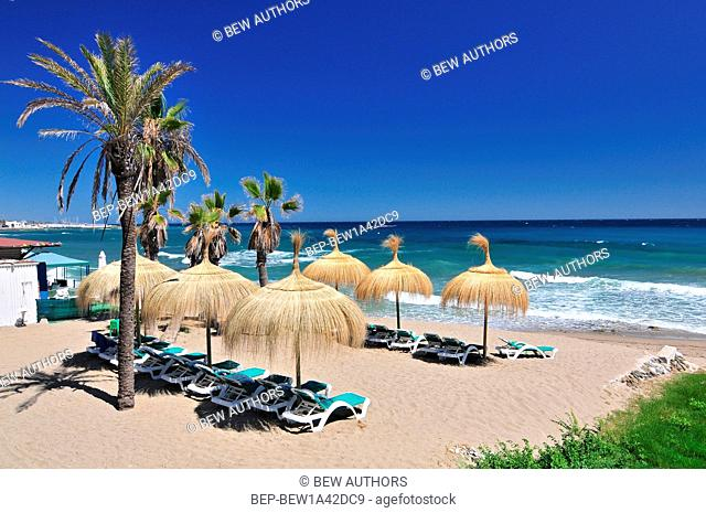 Beach in the popular resort of Marbella in Spain, Costa del Sol, Andalucia region, Malaga province