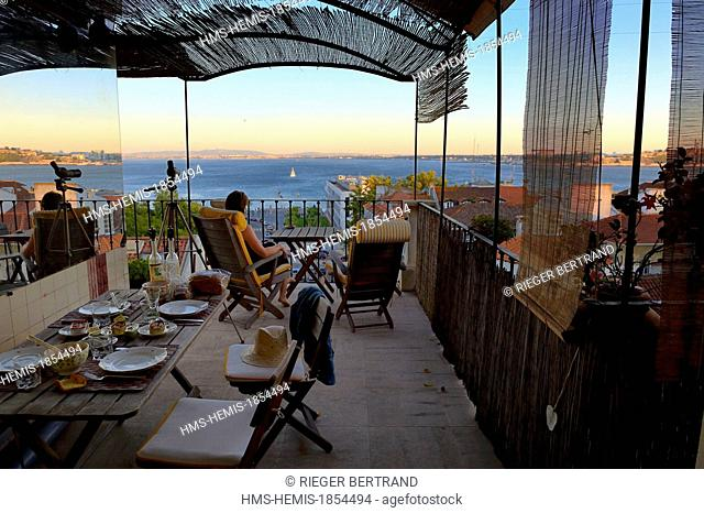Portugal, Lisbon, Chiado district, terrace with view on the south bank of the Tagus river