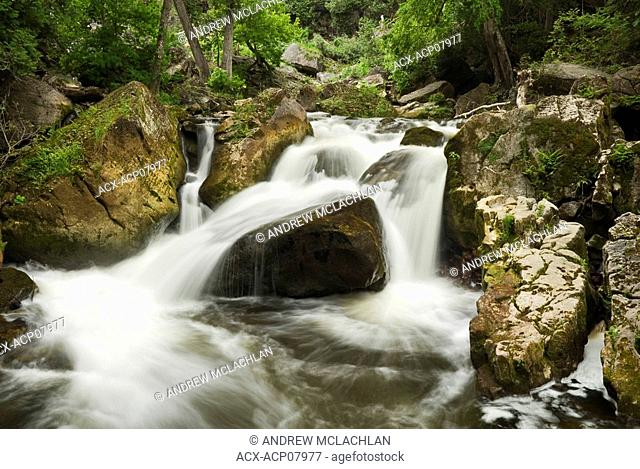 Situated along the Niagara Escarpment, Inglis Falls Conservation Area provides many picturesque views of the Sydenham River  Owen Sound, Ontario, Canada