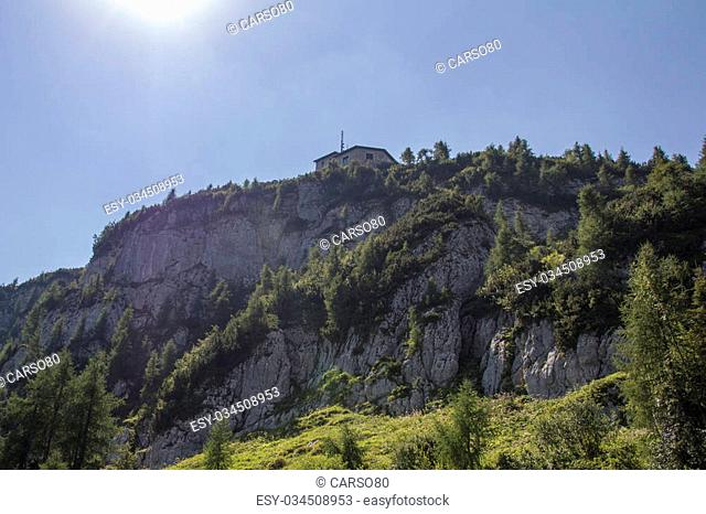 The Kehlsteinhaus (also known as the Eagle's Nest) on top of the Kehlstein at 1.834m is the formerly Hitler's home and southern headquarters