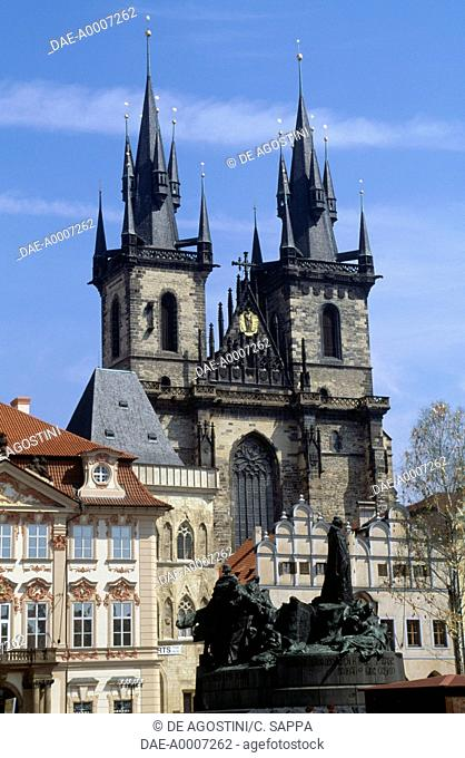 The Church of Our Lady before Tyn, 1365-1511, and the Monument to Jan Hus, 1915, Old Town Square (Staromestske namesti) in Prague (UNESCO World Heritage List
