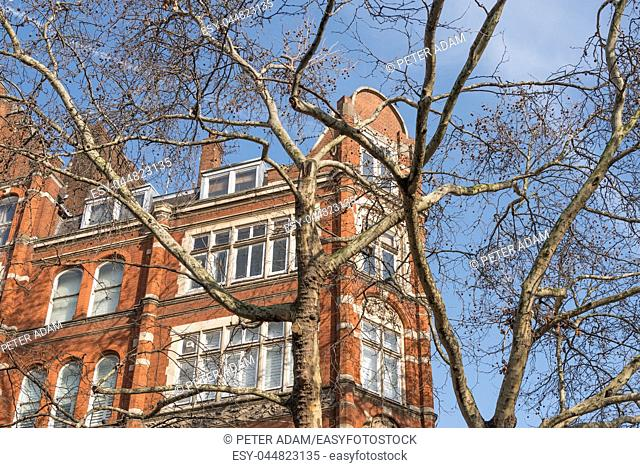 Typical red brick building on a winter sunny day in London, United Kingdom
