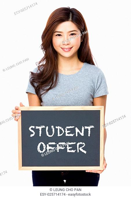Young woman with chalkboard showing student offer